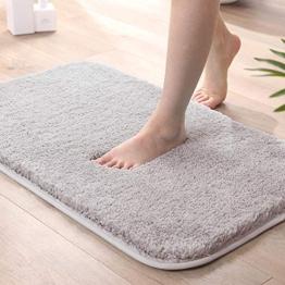 All--In Badematte rutschfest Waschbar Badeteppich Weicher Badvorleger Badezimmerteppich für Badewanne Dusche und Zimmer (Grau, 40x60cm) - 1