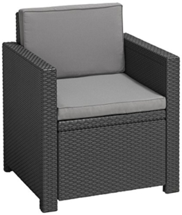 Allibert Lounge Sessel Victoria mit Kissen, graphit/cool grey - 1