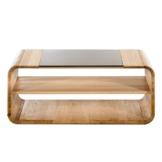 Amazon Marke -Alkove - Hayes - Couchtisch Ema aus Massivholz mit Glasplatte und Rollen, Wildeiche - 1
