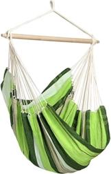 AMAZONAS Großer Hängesessel handgefertigt in Brasilien Brasil Oliva mit Querstab aus FSC Buchenholz 110 cm bis 150 kg grüngestreift - 1