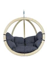 AMAZONAS Hängesessel in edlem Design Globo Chair Anthracite aus FSC Fichtenholz wetterfest bis 120 kg in Dunkelgrau - 1
