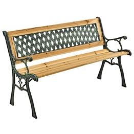 ArtLife 2-Sitzer Gartenbank Pisa aus lackiertem Holz & Gusseisen | naturbelassen | Rückenlehne + Armlehnen | Sitzbank Holzbank Gartenmöbel - 1