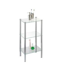 axentia Badezimmerregal Solanio in Silber, verchromtes Badregal, Standregal mit drei Glasböden , Maße: ca. 40 x 30 x 77 cm - 1