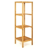 bambuswald© Regal aus 100% nachhaltigem & stabilem Bambus - 4 Etagen - ca. 110x33x33cm   Bambusregal Badregal Küchenregal Standregal Aufbewahrung Badezimmerregal Haushaltsregal - 1