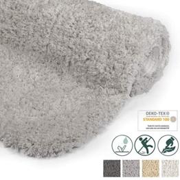 Beautissu Badematte rutschfest BeauMare FL Hochflor Teppich 100x60 cm Hell-Grau - WC Badteppich flauschige Bodenmatte oder Badvorleger für Dusche, Badewanne und Toilette - für Fußbodenheizung geeignet - 1