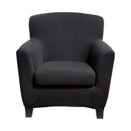 Bellboni® Couchhusse für Einsitzer Couchsessel oder Loungesessel, Sofabezug, bi-elastische Stretchhusse, Spannbezug für viele gängige Einer Sessel, schwarz - 1