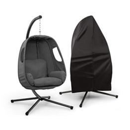 blumfeldt Bella Donna Hängesessel + Regenschutz Set - Schwingbewegung, Unique Comfort, Sitzkissen mit weicher, 12 cm hoher Füllung, Seitenpolsterung, Stabiler Standfuß, max.: 150 kg, dunkelgrau - 1