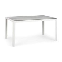 blumfeldt Bilbao Gartentisch - 150 x 90 cm Tischfläche, 6 Personen, Materialien: Polywood & Aluminium, Witterungsbeständig, Holzoptik, weiß/hellgrau - 1