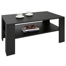 CARO-Möbel Couchtisch Wohnzimmertisch ANIMO in schwarz mit Ablage, 100 x 60 cm - 1