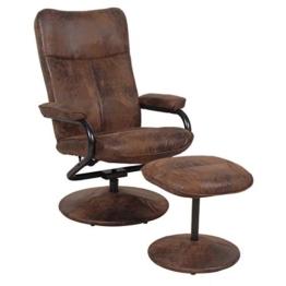 CARO-Möbel Relaxsessel Fernsehsessel Dakota mit Hocker im Wildleder Look braun 360 Grad drehbar - 1