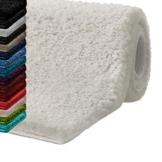 casa pura Badematte Hochflor Sky Soft   Weicher, Flauschiger Badezimmerteppich in Shaggy-Optik   Badvorleger rutschfest waschbar   schadstoffgeprüft   16 Farben in 6 Größen (50x80 cm, Creme/Ivory) - 1
