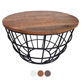 casamia Couchtisch Wohnzimmer-Tisch rund Beistelltisch Lexington ø 55 cm Metall Drahtgestell Gitter massiv Farbe Tabacco - 1