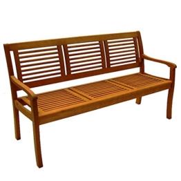 Casaya Gartenbank Paolo 3-Sitzer aus Eukalyptus Hartholz Holzbank in Teakoptik - 1