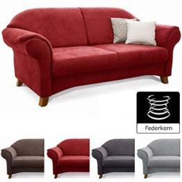 Cavadore 2-Sitzer Sofa Maifayr mit Federkern / Moderne 2-sitzige Couch im Landhausstil mit Holzfüßen / 164 x 90 x 90 / rot - 1