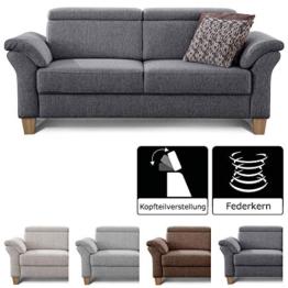 Cavadore 3-Sitzer Sofa Ammerland / Couch mit Federkern im Landhausstil / Inkl. verstellbaren Kopfstützen / 186 x 84 x 93 / Strukturstoff grau - 1