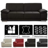 CAVADORE 3-Sitzer Sofa Corianne / Echtledercouch im modernen Design / Mit Armteilverstellung / 217 x 80 x 99 / Echtleder dunkelbraun - 1
