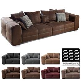 Cavadore Big Sofa Mavericco / Große Polster Couch mit Mikrofaser-Bezug in antiker Lederoptik / Inklusive Rückenkissen und Zierkissen in braun / Maße: 287 x 69 x 108 cm (BxHxT) / Farbe: Antik Braun - 1
