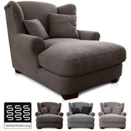 CAVADORE XXL-Sessel Oasis / Großer Polstersessel im modernen Design / Inkl. 2 schöne Zierkissen / 120 x 99 x 145 / Webstoff in schlamm - 1