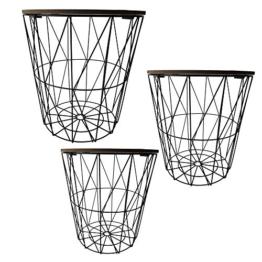 Cepewa Beistelltisch 3er Set Couchtisch im Industrie Design aus Metall mit Holz Tischplatten Ø 29 cm Ø 34 cm Ø 39,5 cm (dunkle Tischplatten) - 1