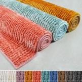 Chenille Badematte Coral   Zarte Schimmernde Farben   schadstoffgeprüft   Badezimmer-Teppich mit Massage-Effekt   Waschbarer Badvorleger (50x80 cm, Ivory) - 1