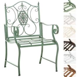 CLP Lackierter Eisen-Gartenstuhl Punjab mit Armlehne I Outdoor-Stuhl im Landhausstil I erhältlich Antik Grün - 1