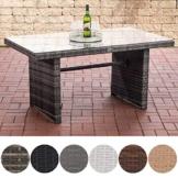 CLP Polyrattan-Gartentisch FISOLO mit Einer Tischplatte aus Glas I Wetterbeständiger Tisch aus Polyrattan Grau Meliert - 1