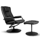 COSTWAY Relaxsessel mit Hocker, Fernsehsessel Leder, Liegesessel Ergonomisch, Relaxstuhl drehbar, Schaukelstuhl 150°Kippbar, TV Sessel Set Schwarz, Entspannungsstuhl - 1