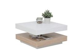 Couchtisch Andy, Holzwerkstoff ,Tischplatte drehbar 360°, Weiß/Sonoma Eiche, 67x67x35cm - 1