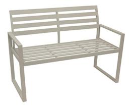 DEGAMO Design Gartenbank Atlanta 2-sitzer aus Aluminium wetterfest und rostfrei, weiß - 1