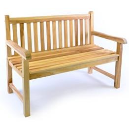 Divero 2-Sitzer Bank Holzbank Gartenbank Sitzbank 120 cm – zertifiziertes Teak-Holz unbehandelt massiv – Reine Handarbeit – wetterfest (Teak Natur) - 1