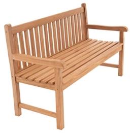 Divero 3-Sitzer Bank Holzbank Gartenbank Sitzbank 150 cm – zertifiziertes Teak-Holz behandelt hochwertig massiv – Reine Handarbeit – wetterfest (Teak behandelt) - 1