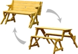 dobar 29301FSCe Praktische Garten Sitzbank 2 in 1 Kombination aus Tisch und Bank FSC-Holz, Sitzgarnitur, Hellbraun, 138 x 144 x 77 cm - 1