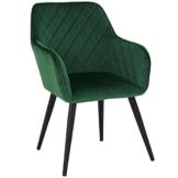 Duhome Esszimmerstuhl aus Stoff (Samt) Grün Farbauswahl Retro Design Armlehnstuhl Stuhl mit Rückenlehne Sessel Metallbeine 8058 - 1