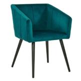 Duhome Esszimmerstuhl aus Stoff (Samt) Petrol Blau Grün Farbauswahl Retro Design Stuhl mit Rückenlehne Sessel Metallbeine 8065 - 1