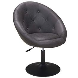 Duhome Sessel höhenverstellbar Stoff Lederoptik Dunkel Grau Clubsessel Coctailsessel Loungesessel 509A - 1