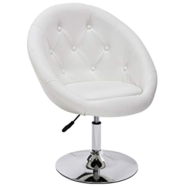 Duhome Sessel Weiss höhenverstellbar Kunstleder Clubsessel Coctailsessel Loungesessel - Typ 509A - 1
