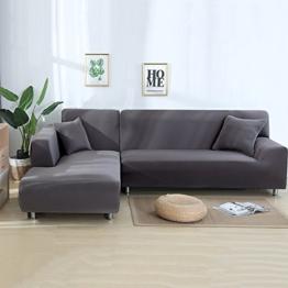 ele ELEOPTION Sofa Überwürfe elastische Stretch Sofa Bezug 2er Set 3 Sitzer für L Form Sofa inkl. 2 Stücke Kissenbezug (Grau) - 1