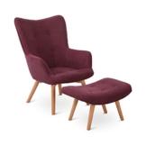 elektronik star Besoa Hagersten Class 20 Sessel mit Fußbank, strapazierfähiger Bezugsstoff, Beine aus massivem Holz, klassisches Design, aubergine - 1