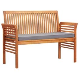 Festnight 2-Sitzer Gartenbank mit Kissen Parkbank Balkonbank Sitzbank Holz Bank Massivholz Akazie 120 x 60 x 90 cm - 1