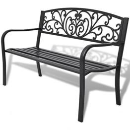 Festnight- 2-Sitzer Metall Gartenbank Sitzbank Bank Parkbank aus Stahl und Gusseisen 127 x 60 x 85 cm Schwarz - 1