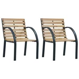 Festnight Gartenstühle 2 STK. Holz Sitz und Rückenlehne aus Holz + Stahlrahmen 56 x 82 x 61 cm (B x T x H) - 1