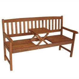Gartenbank 3-Sitzer 158x59x90cm Holz Eukalyptus FSC Klapptisch - 1