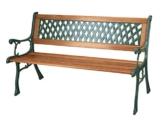 Gartenbank, 3-Sitzer, mit Hartholz-Latten und Beinen aus Gusseisen - 1