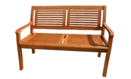 Gartenbank Eukalyptus 2 Sitzer Holzbank - 1