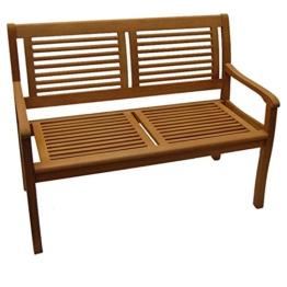 Gartenbank Paolo 2-Sitzer Eukalyptus Hartholz Teakfarbig lasiert - 1