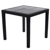 Gartentisch Rattan Optik ohne Schirmloch Tisch schwarz 79 x 79 cm Bistrotisch Beistelltisch - 1