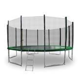 Gartentrampoline Trampoline Mit Leiter Randabdeckung Sicherheitsnetz und Randabeckung (Dunkelgrün, 400cm) - 1