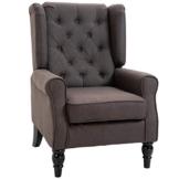 HOMCOM Einzelsessel Relaxsessel Einzelstuhl mit Tufting Holzfüße Polyester Braun 76 x 86 x 108 cm - 1