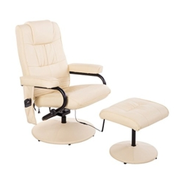 HOMCOM Kunstleder Massagesessel Relaxsessel Fernsehsessel TV Sessel mit Wärmefunktion inkl. Hocker Creme - 1