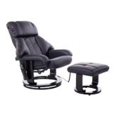 HOMCOM Massagesessel Fernsehsessel Sessel mit Hocker Massage mit Wärmefunktion und Vibration Schwarz - 1